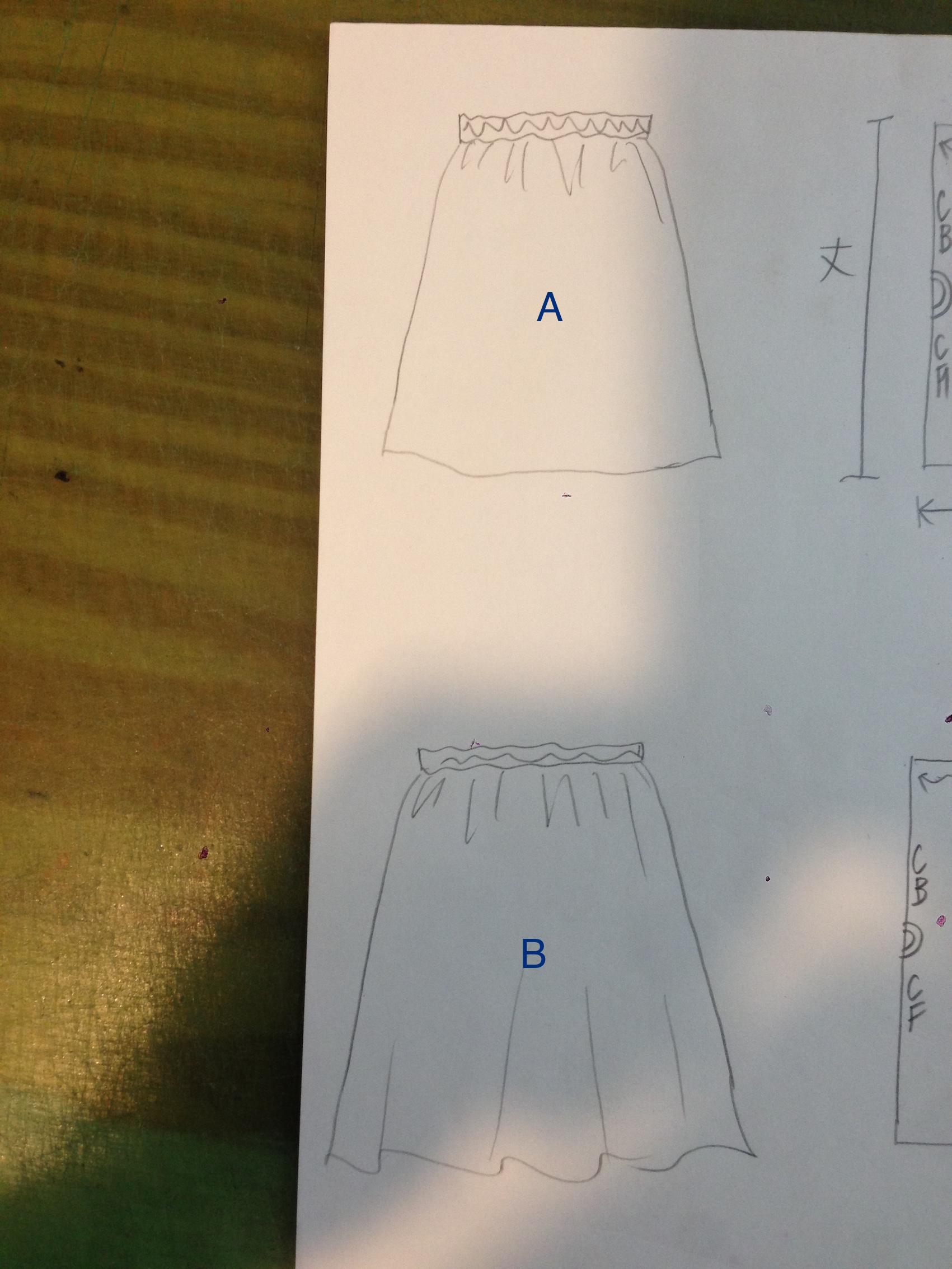 ギャザースカートのパターンのひき方